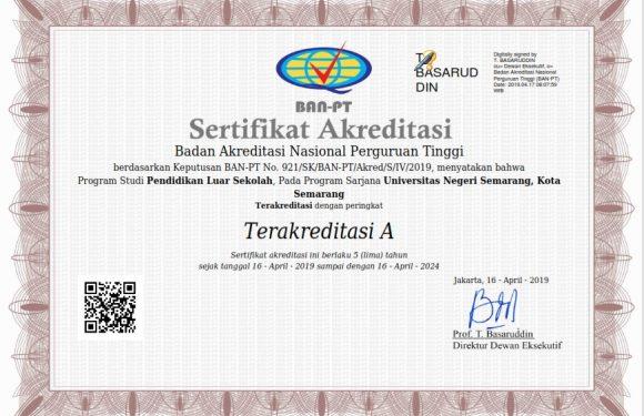 Sertifikat Akreditasi PLS 2019